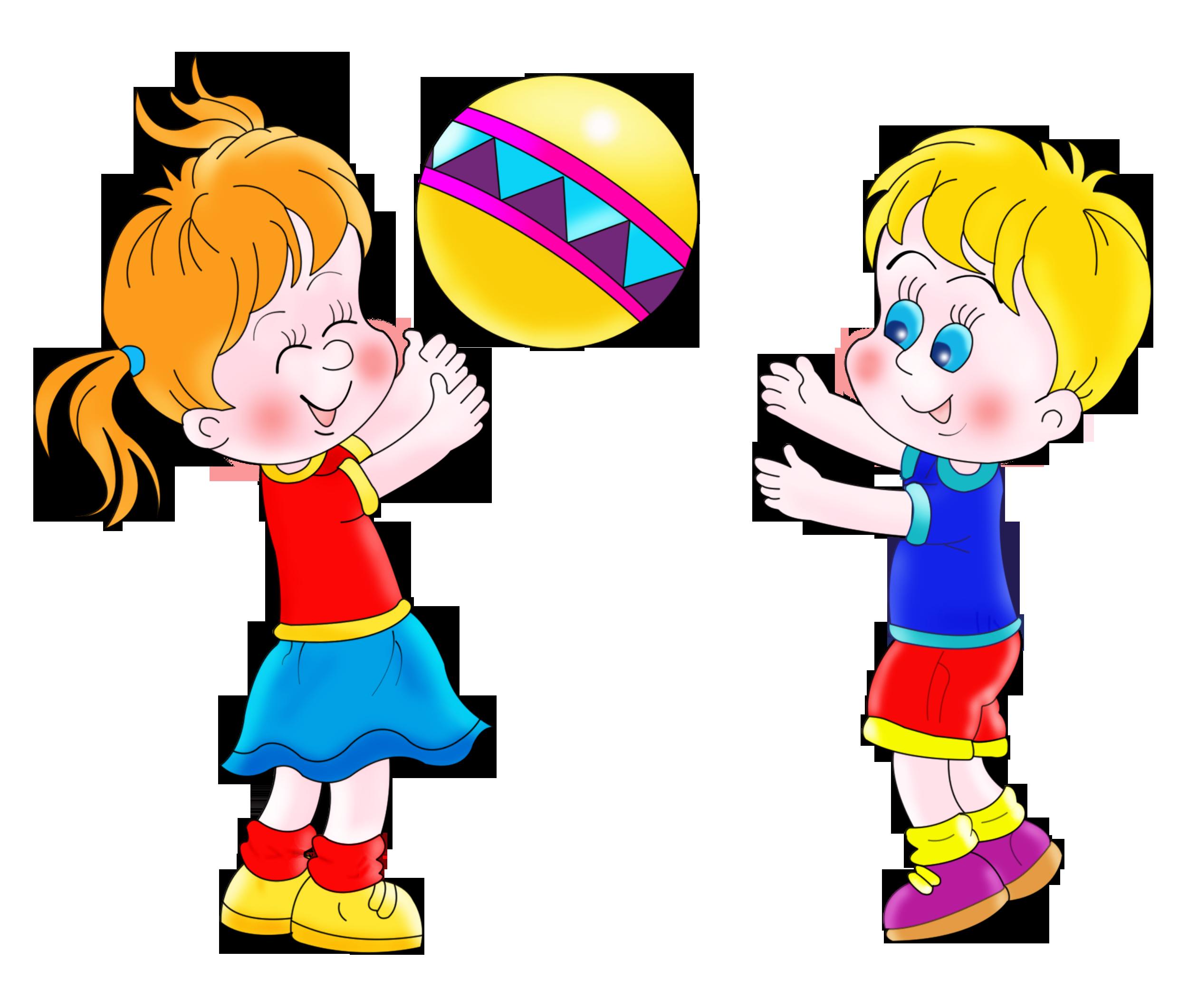 Дети играют мячом мальчик и девочка